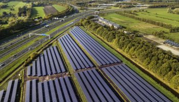 zonnelandschap langs de A1 bij Eemnes